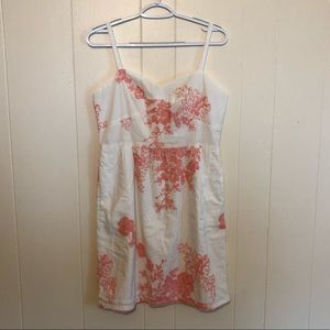 NWT J.CREW White Embroidered Dress 8 Coral